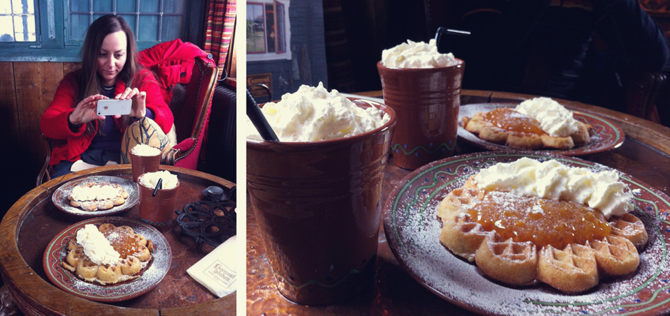 Waffles, Sälen, hot chocolate,