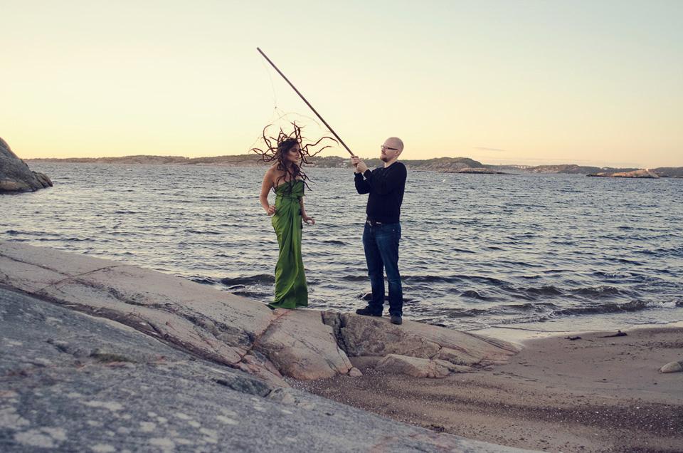 conceptual, portrait, Medusa, siren, dreads, dreadlocks, tentacles, storm, ocean, beach, Göteborg, Rania Rönntoft, mythology