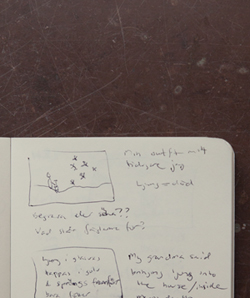 The notes and sketch of the concept for Hide and seek by Jenny Jacobsson